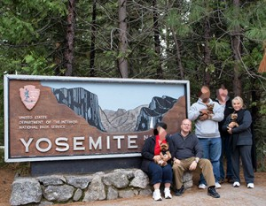 Mental Health Team with Clients in front of Yosemite Sign